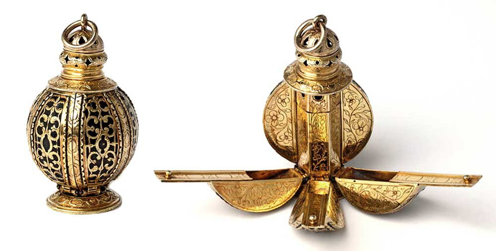 "This spherical pomander opens into separate compartments for different scents, circa early 17th century. Via the <a href=""http://collections.vam.ac.uk/item/O156619/pomander-unknown/"">Victoria & Albert Museum</a>."