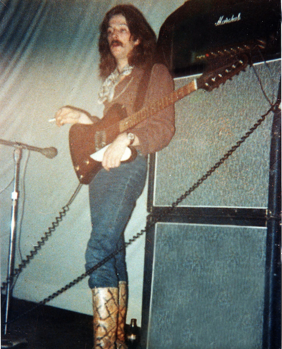 Eric Clapton performing with Cream at the Eagles Auditorium on May 29 and 30, 1968. The fabric behind the musician became a canvas for light shows created by Retina Circus, of which Moehring was a member.