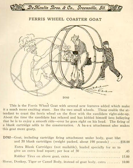 "The1930 DeMoulin Bros. & Co. catalog details the Ferris Wheel Coaster Goat: ""About the time the candidate has relaxed and has kidded himself into believing he is to enjoy a smooth ride—over he goes right on his head. The firing of a blank cartridge adds to the consternation."" (Courtesy of the Phoenixmasonry Museum.)"