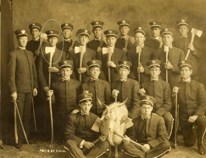 The members of Woodmen of the World lodge posing with their axes and their goat mascot.  (Courtesy of the Phoenixmasonry Museum)