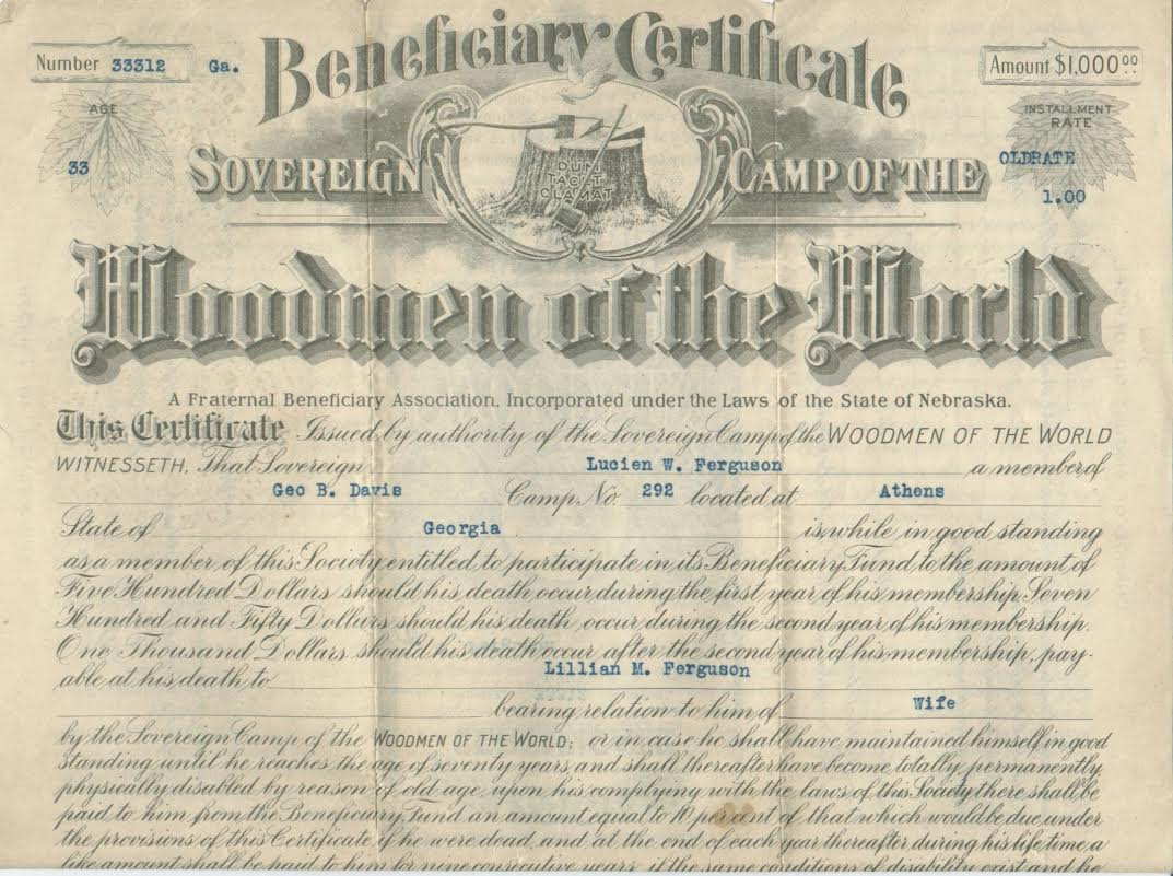 A detail from a 1917 Woodmen of the World beneficiary certificate. Click on the image to see a larger version. (Courtesy of the Phoenixmasonry Museum)