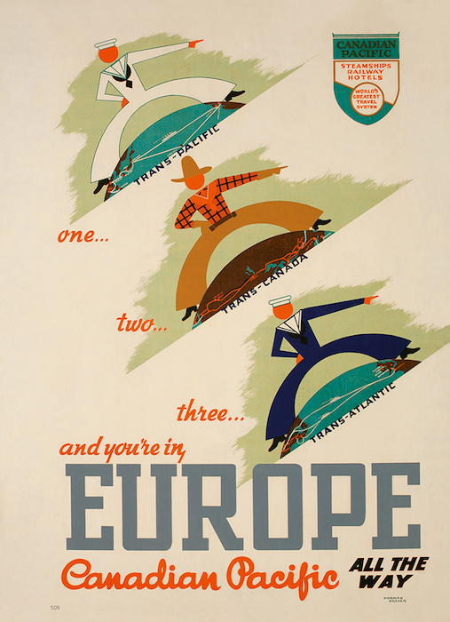 Norman Fraser poster promoting Canadian Pacific's routes to Europe, 1939.