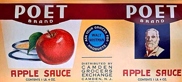 """Top: A tin cigar box offering the """"Poetic Comfort"""" of Walt Whitman Cigars, produced by Barnes, Smith & Co. in Binghamton, New York. Above: A can label for Poet Brand apple sauce, sold at the Walt Whitman grocery chain in the 1930s. (Photos courtesy of Ed Centeno)"""