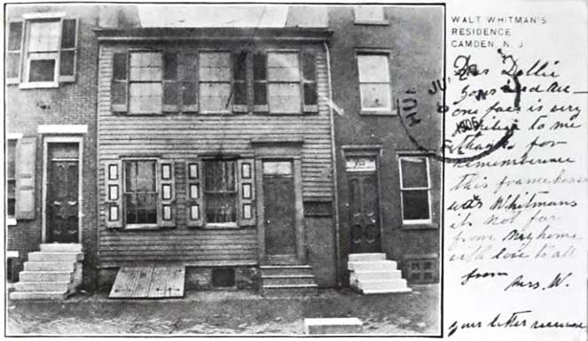 Before Walt Whitman's final home in Camden, New Jersey, opened for tours, you could buy photo postcards of the site, like this one postmarked 1906. (Courtesy of Ed Centeno)