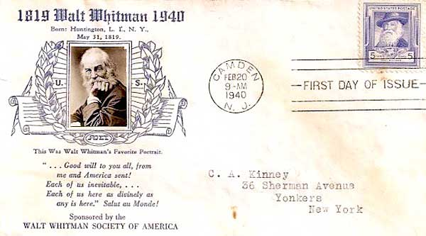 A first-day cover commemorates the first American postage stamp honoring Walt Whitman in 1940. (Courtesy of Ed Centeno)