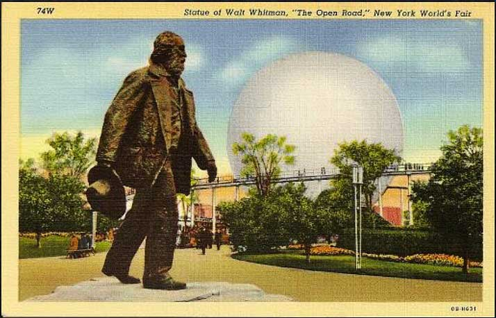 """This 1939 World's Fair sculpture of Walt Whitman, """"The Open Road,"""" took its name from the verse: """"Afoot and light-hearted I take to the open road, / Healthy, free, the world before me, / The long brown path before me leading wherever I choose."""" (Courtesy of Ed Centeno)"""