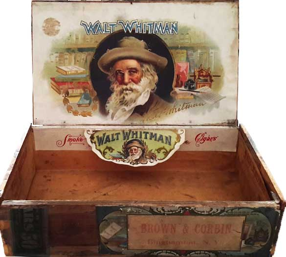 This cigar box for the Walt Whitman Cigars made by Brown & Corbin promotes reading and writing as leisure activities. The image is similar to one created by Frank Hartmann's cigar company, which also sold Walt Whitman Cigars. (Courtesy of Ed Centeno)