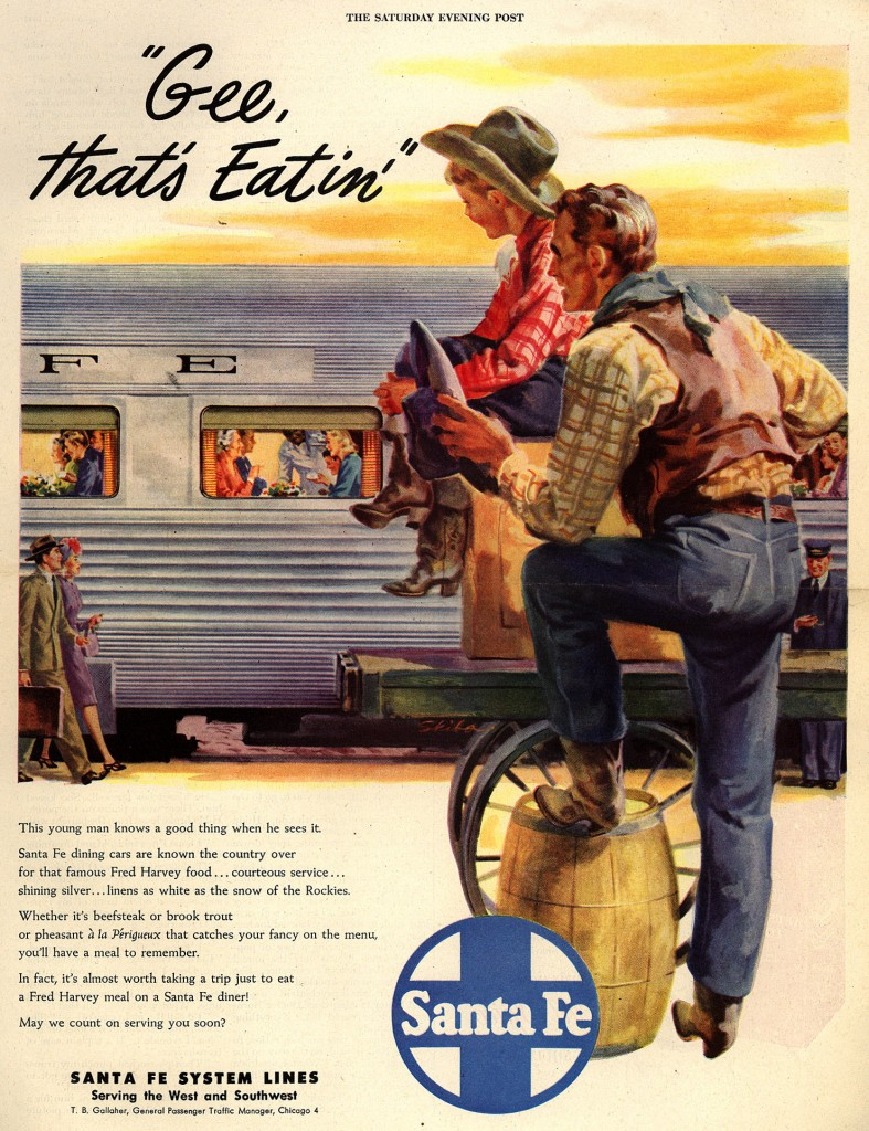 "A ""Saturday Evening Post"" ad from the late 1940s for Fred Harvey meals in Santa Fe dining cars. (Click to enlarge)"