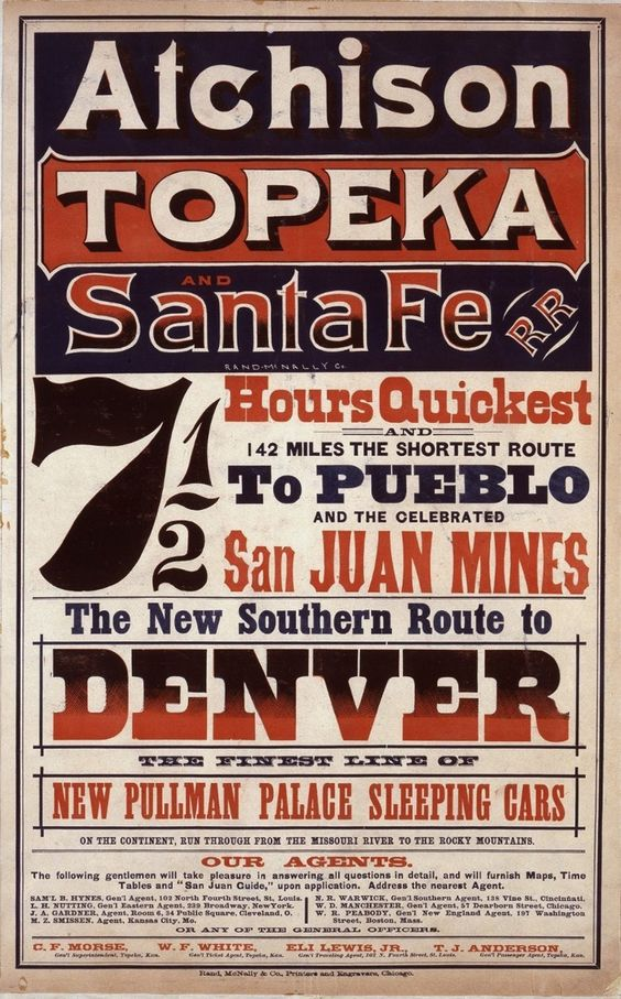 An 1873 poster advertising the Atchison, Topeka and Santa Fe route from Kansas to Colorado.