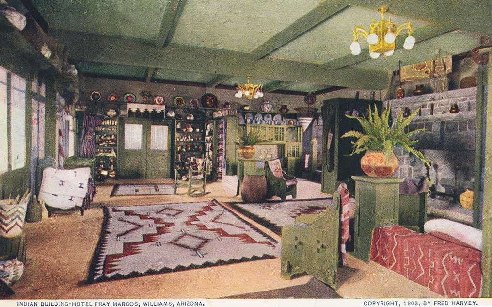 "A 1903 postcard showing the interior of the ""Indian Building,"" or souvenir shop, at the Fray Marcos Hotel in Williams, Arizona."