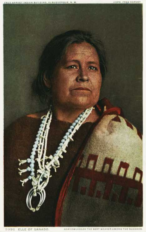 Instead of hiring Native American women as Harvey Girls, the company asked artists like Elle of Ganado, a famous weaver, to demonstrate and sell their wares in hotel lobbies and gift shops. Elle was even featured on a company postcard, circa 1906.