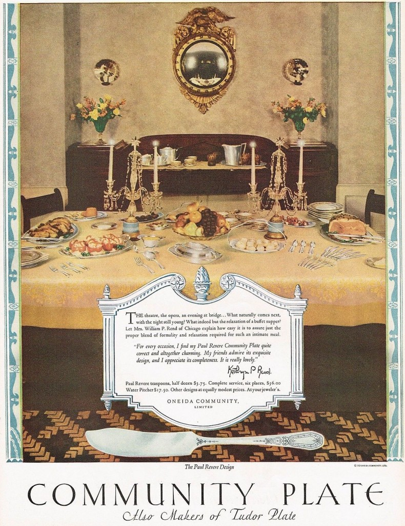 "This 1920s ad for Oneida's Community Plate brand of silverplate flatware suggests its ""Paul Revere"" pattern suits every occasion, from formal to informal. Click on the image to see it larger."