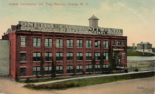 A 1905 postcard shows the Oneida Community, Limited, trap factory. (Via Trapper & Predator Caller)