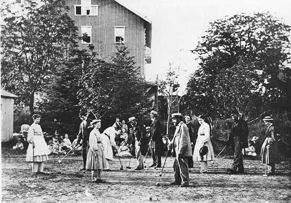 Members of the Oneida Community took to the middle-class hobby of croquet, circa 1865-1870. (From the Oneida Community Collection at Syracuse University Library in New York)