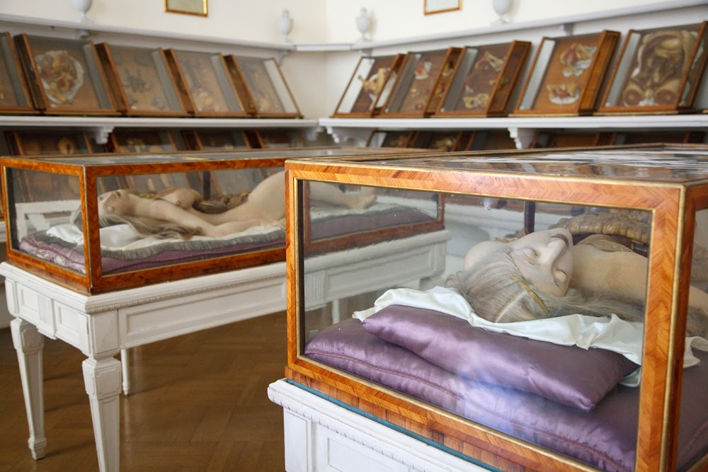 Two Anatomical Venuses at the Josephinum in Vienna, Austria, which were commissioned by Emperor Joseph II and transported over the Alps from Susini's workshop at La Specola. Courtesy the Josephinum, Collections and History of Medicine, MedUni Vienna. Photo © Joanna Ebenstein.