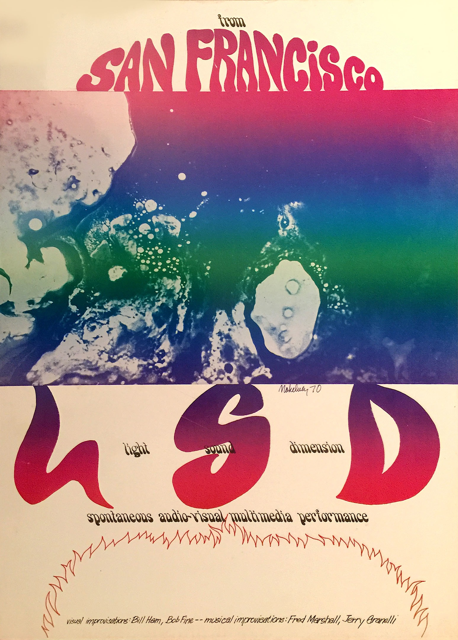 The posters that Bill Ham commissioned in 1970 for Light Sound Dimension shows in Europe were confiscated upon arrival in Geneva, Switzerland, because customs officials thought the group's initials were promoting drugs.