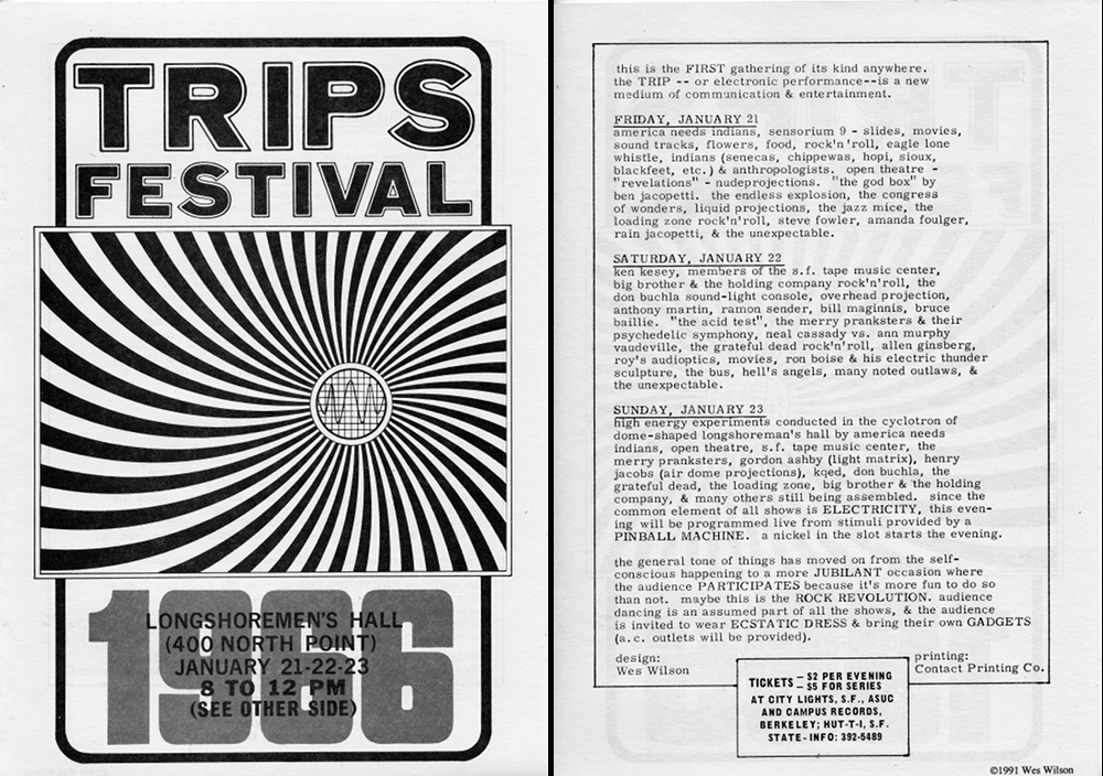 "The lineup at the Trips Festival (click to enlarge) includes numerous references to ""liquid"" and ""overhead"" projections, as well as ""Anthony Martin,"" who would go on to do the first light shows for Bill Graham at the Fillmore."