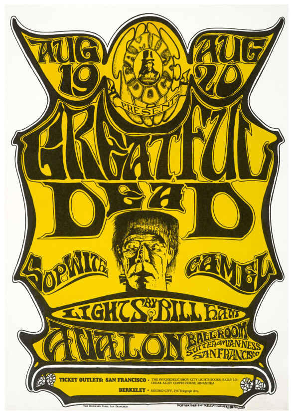 When Bill Ham complained to the Grateful Dead's sound man, Owsley Stanley, that his light show would not look very good on the band's speakers, Stanley had them painted white. Note the misspelling of the band's name on this poster.