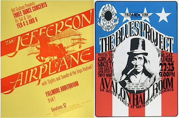 Rock promoter Bill Graham capitalized on the excitement, and ticket sales, of the Trips Festival by promising more of the same for his first show at the Fillmore. Tony Martin, who had done some of the light effects at the Trips Festival, did the Fillmore's lights for Graham's first shows there, as well as the Family Dog's first shows at the Fillmore. When the Family Dog moved to the Avalon, though, Martin's name was still on the poster, even though Bill Ham did the lights. (Left: Via Psychedelic Art Exchange. Right: via D. King Gallery.)