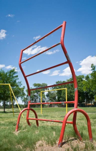 A 1970s-era climbing-bar apparatus, photographed in Rocky Ford, Colorado, in 2006. (Photo by Brenda Biondo)