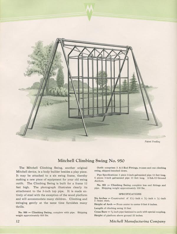 This strange Climbing Swing from the 1926 Mitchell Manufacturing Company catalog looks a bit like a torture device. Brenda Biondo says she's never found one in the wild. (Courtesy of Brenda Biondo)