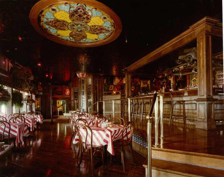 Patrons would circle the raised square bar, like this one in the  Friday's in San Bruno, California, in 1980. Click on the image to see a larger version of it. (Promotional photo, courtesy of Bob Treat)