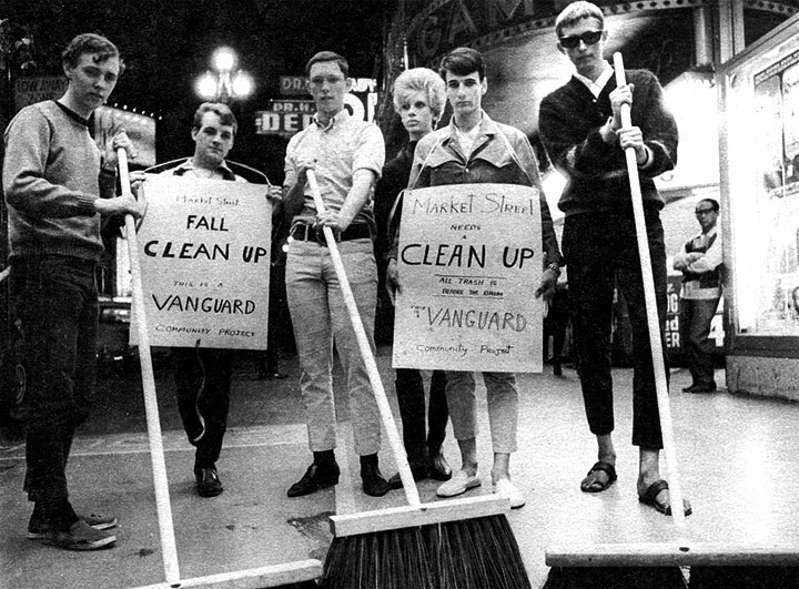 Members of the queer youth organization Vanguard participate in a Market Street sweep to clean up the Tenderloin, as seen in Vanguard Magazine Volume 1, Issue 2, from 1966. Courtesy of the Gay, Lesbian, Bisexual, Transgender Historical Society.