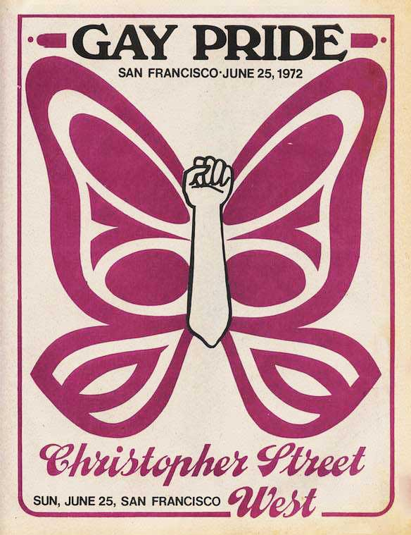 "The 1972 program cover for San Francisco's first annual LGBTQ Pride parade, which organizers called ""Christopher Street West"" to evoke the location of the Stonewall Inn."