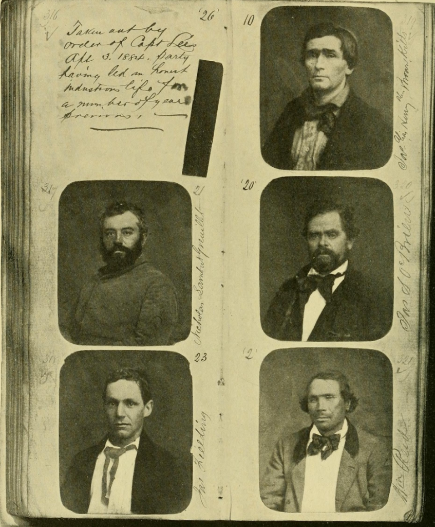 "Top: Four unmarked mugshots from Michaelson's collection. Courtesy of Mark Michaelson. Above: The pages of a San Francisco Police Department mugshot album from the 1880s, as seen in ""<a href=""https://archive.org/stream/cameracraft1219001901phot#page/382/mode/2up"" target=""_blank"">Camera Craft</a>."" Via the Internet Archive. (Click to enlarge)"