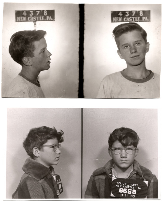 Michaelson has several mugshots that depict minors, like these two boys photographed in New Castle, Pennsylvania, in the 1950s. Courtesy of Mark Michaelson.