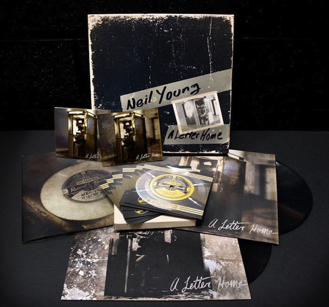 "Neil Young's ""A Letter Home"" includes a CD, a DVD, seven 6-inch records, two vinyl LPs, and a 32-page booklet."