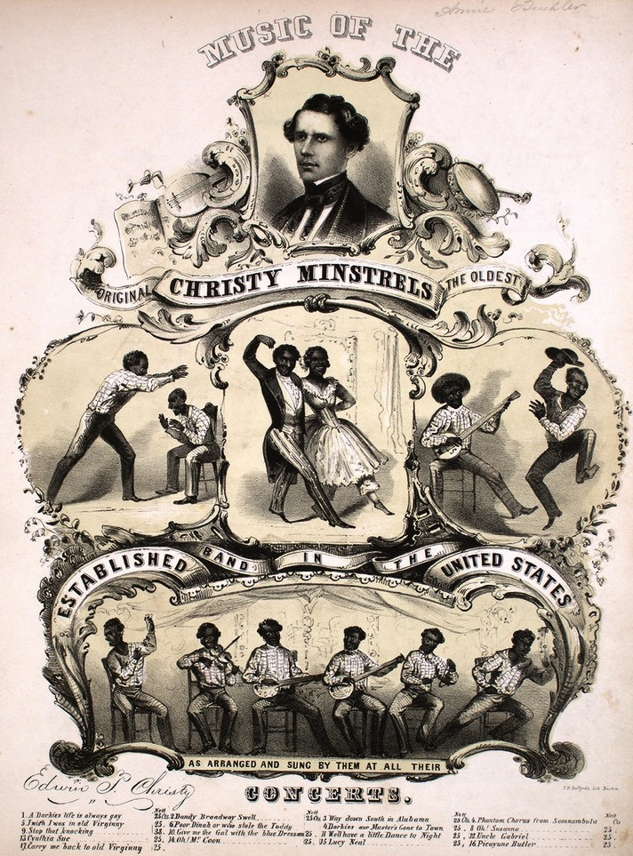 "Sheet music from 1848 for the Christy Minstrels, including ""Oh! Susanna"" by Stephen Foster. Courtesy of the Lester S. Levy Collection of Sheet Music, The Sheridan Libraries, The Johns Hopkins University."
