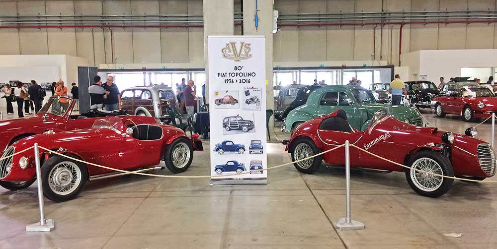 Vintage Fiat racecars on view at the Auto pavilion.