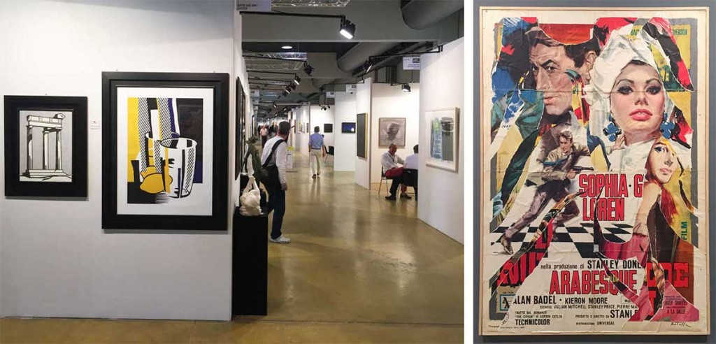 The Modern and Contemporary Art pavilion included works by Americans like Roy Lichtenstein, as seen at left, as well as popular Italian artists, including Mimmo Rotella, whose collage is seen at right.