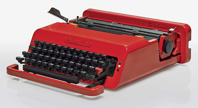 """Valentine"" typewriter for Olivetti by Ettore Sottsass and Perry King, 1969."