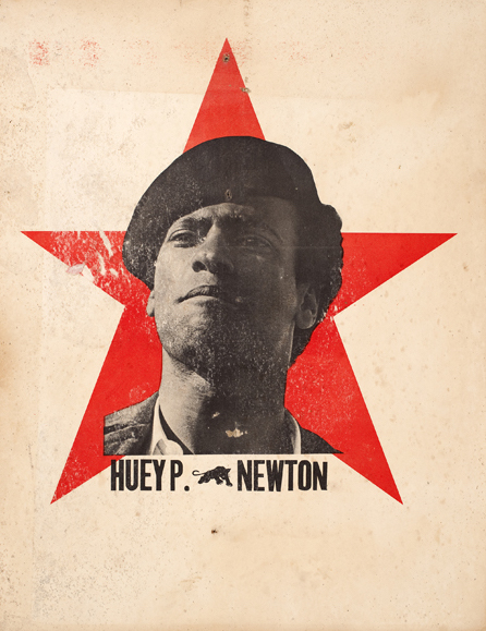 "This image, circa 1969, became an icon of the ""Free Huey"" movement, which demanded that Black Panther leader Huey P. Newton be released from prison, where he was being held in connection to the shooting death of Oakland police officer John Frey. (Courtesy of the Oakland Museum of California, All of Us or None Archive)"