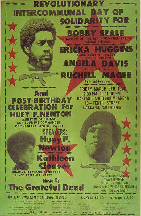 In 1971, psychedelic rock band The Grateful Dead played an Oakland rally for Black Panthers Bobby Seale, Ericka Huggins, Angela Davis, and Ruchell Magee, all of whom were in jail. Huey P. Newton and Kathleen Cleaver spoke at the event. (Via eBay)