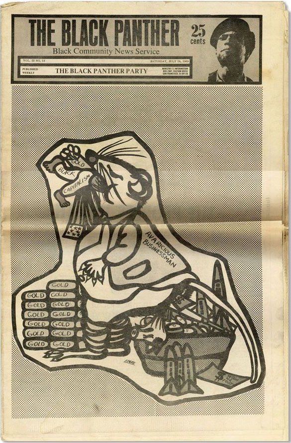 "A Black Panther newspaper from July 1969 features artwork by Emory Douglas depicting an ""Avaricious Businessman"" rat eating gold and ""Black Capitalism."" (Via eBay)"