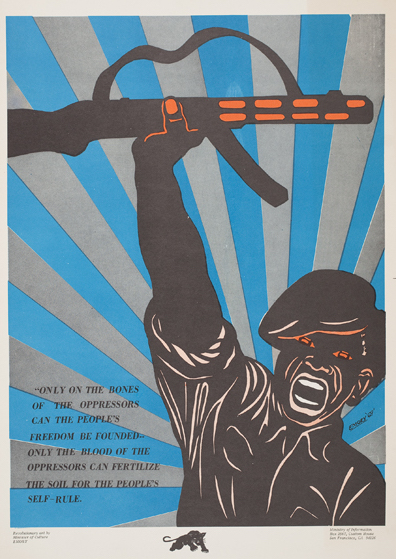 "This 1969 Emory Douglas poster reads, ""Only on the bones of the oppressors can the People's freedom be founded—only the blood of the oppressors can fertilize the soul for the People's self-rule."" (Courtesy of the Oakland Museum of California, All of Us or None Archive)"
