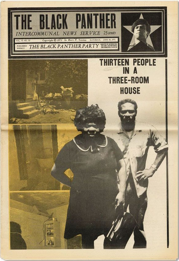 A June 1971 issue of the Black Panther newspaper addressed the grim housing situation some African Americans faced. (Via eBay)
