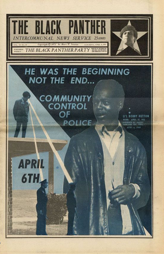 This April 1971 issue of the Black Panther newspaper commemorated the third anniversary of Li'l Bobby Hutton's death. (Via eBay)