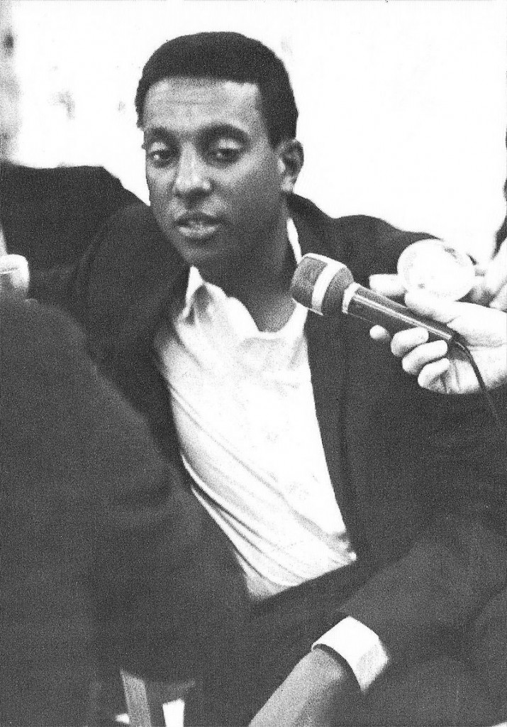 "Stokely Carmichael expounds on his ""black power"" concept in 1966. This image first appeared in the 1967 Michigan State University yearbook, Wolverine. (Via WikiCommons)"
