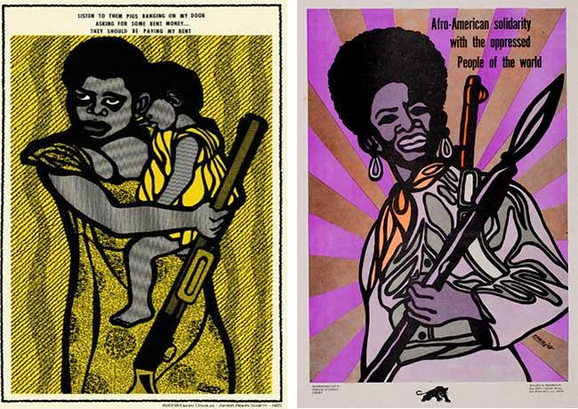 "Several Black Panther Party propaganda posters by illustrator Emory Douglas show women with guns. The reprint of a 1971 poster, at left, reads: ""Listen to them pigs banging on my door asking for some rent money ... They should be paying my rent."" (Via eBay) The 1969 poster on the right says: ""Afro-American solidarity with the oppressed People of the world."" (Courtesy of Oakland Museum of California, All of Us or None Archive)"