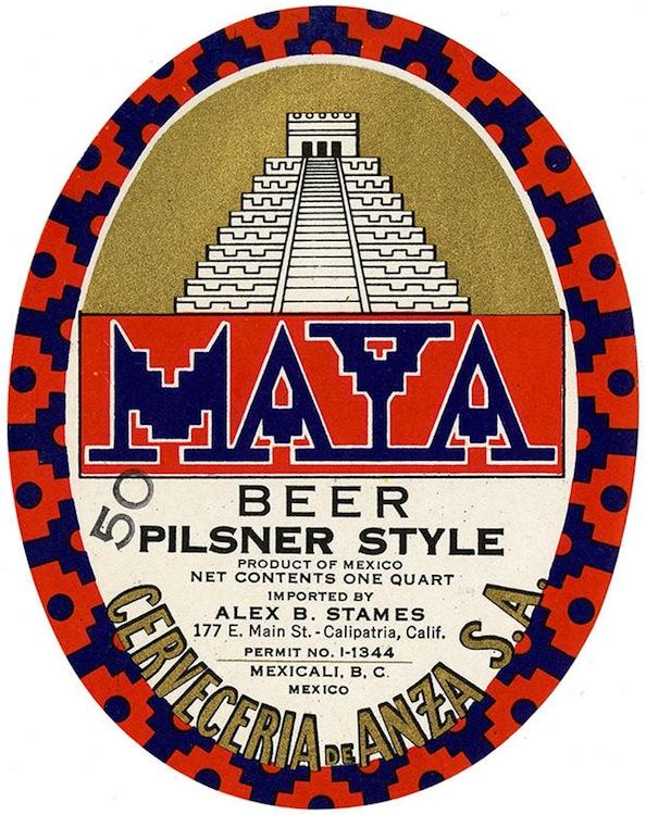 Beer label, Maya beer, pilsner style, Cerveceria de Anza S.A.