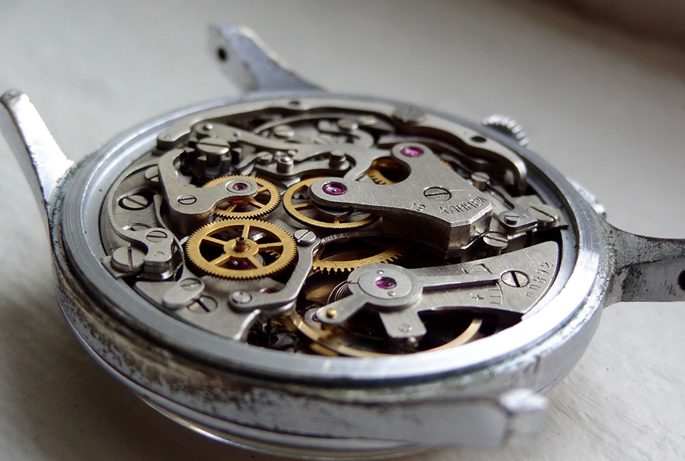 The intricate parts of a 19-jewel chronograph movement inside a Strela watch from 1959.