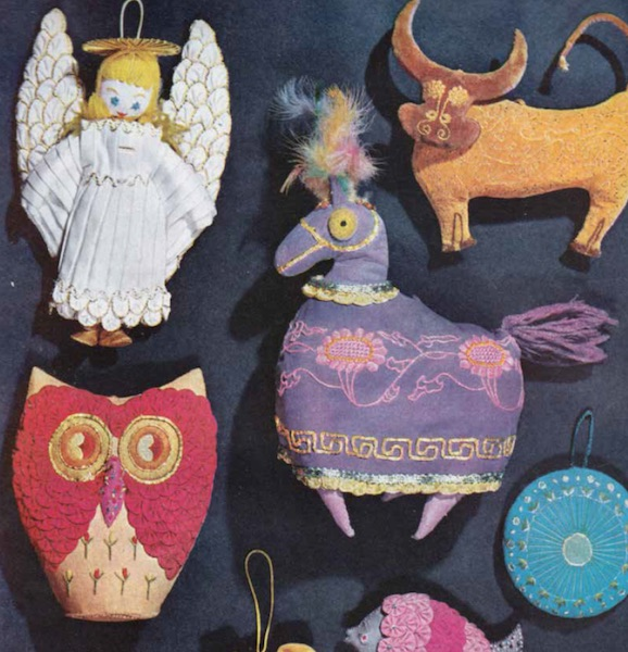 "Handmade ornaments you could make with your kids featured in the December 1956 issue of ""Better Homes and Gardens."" (From Mid-Century Christmas)"