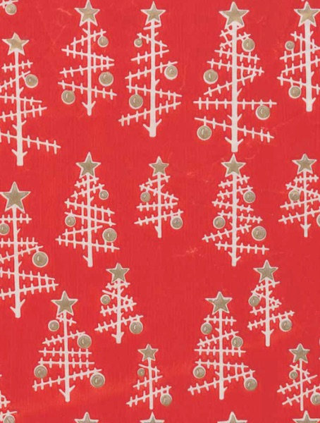 The abstracted Christmas-tree pattern on this mid-century wrapping paper has a molecular look to it. Circa 1940-1959, made by the Crystal Tissue Company. Gift of Christopher and Esther Pullman. Cooper Hewitt, Smithsonian Design Museum/Art Resource, New York. (From Mid-Century Christmas)