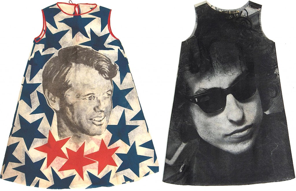 Left, a dress made for the 1968 Democratic convention featuring Bobby Kennedy. Right, Poster Dresses Ltd. made six photographic dresses in 1967, but the Bob Dylan version was discontinued after the musician threatened to sue. Images courtesy Jonathan Walford and the Fashion History Museum, Cambridge, Ontario.