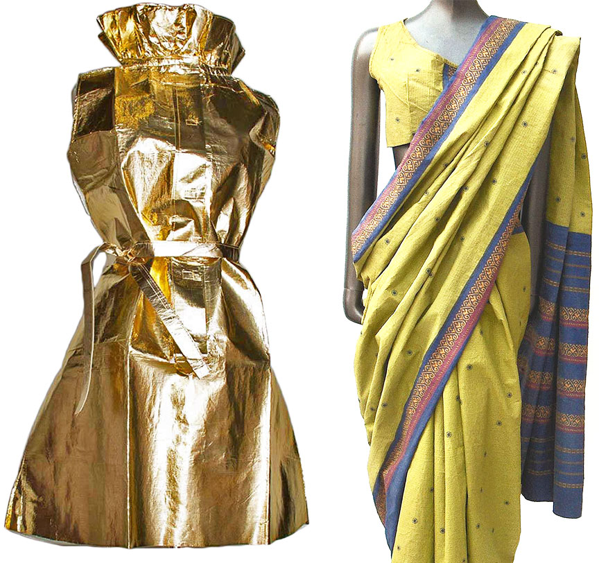 "Left, a gold stewardess dress designed by Elisa Daggs for first-class service on transatlantic TWA flights to Paris in 1967. Image courtesy <a href=""https://www.augusta-auction.com/component/auctions/?view=lot&id=9843&auction_file_id=20"" target=""_blank"">Augusta Auctions</a>. Right, a paper sari designed by Daggs for Air India in 1967. Image courtesy Jonathan Walford and the <a href=""http://www.fashionhistorymuseum.com/"" target=""_blank"">Fashion History Museum</a>, Cambridge, Ontario."