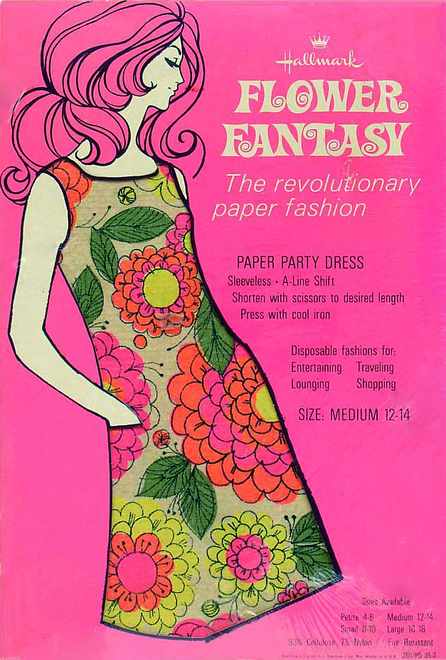 Packaging for Hallmark's disposable dress from 1967.